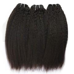 Human Hair Kinky Straight Hair 3 Bundles Hair Weave 100% Unprocessed Virgin Hair Weft Natural Color Natural Black 8 8 8