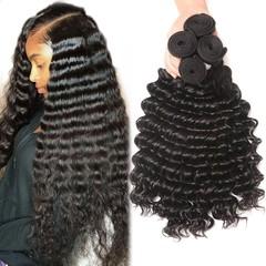 BHF Indian Deep Wave 4 Bundles Human Hair Unprocessed Virgin Hair Extensions Natural Color Natural Black 8 8 8 8