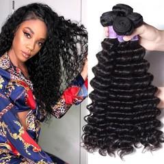 BHF Deep Wave Hair 4 Bundles 100% Unprocessed Virgin Hair Human Hair Weave Extensions Natural Color Natural Black 8 8 8 8