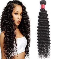 BHF Brazilian Remy Hair Deep Wave 4 Bundles Natural Black Unprocessed Virgin Hair Weave Extension Natural Black 8 8 8 8