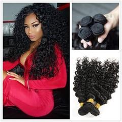 BHF Mongolian Human Hair Extensions Deep Wave Virgin Human Hair 4 Bundles Extensions Natural Color Natural Black 8 8 8 8