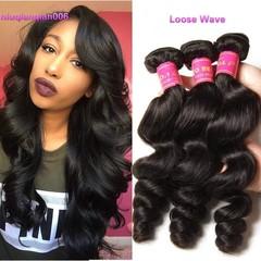BHF 9A 100% Brazilian Virgin Real Human Hair 4 Bundles Loose Wave Hair Extensions Natural Color Natural Black 8 8 8 8