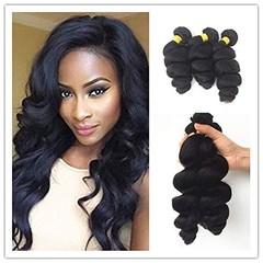 Loose Wave Peruvian Virgin Hair 4 Bundles Weft 100% Virgin Remy Human Hair Extensions Natural Color Natural Black 8 8 8 8