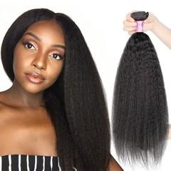 Brazilian Kinky Straight Human Hair 4 Bundles Unprocessed Virgin Hair Weave Bundles Natural Color Natural Black 8 8 8 8