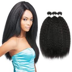 BHF Human Hair Brazilian Virgin Hair Weaves Kinky Straight 4 Bundles 100% Human Hair Extensions Natural Black 8 8 8 8