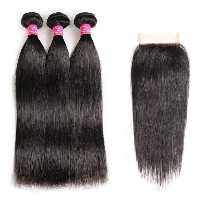 9A Brazilian Straight Hair With Closure 3 Bundles Unprocessed Virgin Human Hair With Lace Closure free Part 8*3+8