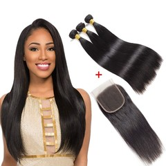 Malaysian Straight Human Hair 3 Bundles With Lace Closure Unprocessed Virgin Hair With Lace Closure free Part 8*3+8
