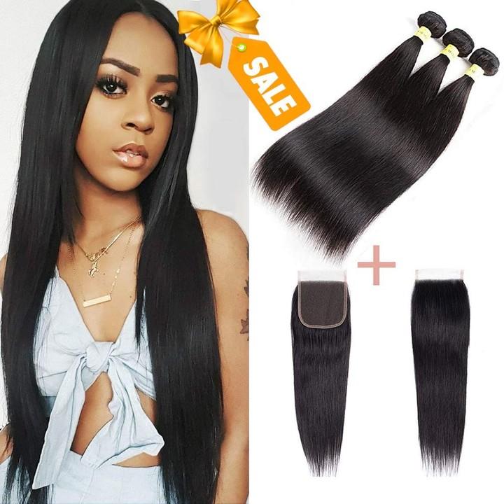 Brazilian Straight Hair 3 Bundles With Closure Unprocessed Virgin Human Hair Bundles With Closures free Part 8*3+8