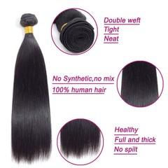 BHF 8A Human Hair Weave 3 Bundles with Closure Brazilian Virgin Straight Hair Closure With Bundles free Part 8*3+8