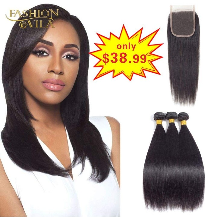 BHF 8A Human Hair Weave 3 Bundles with Closure Brazilian Virgin Straight Hair Closure With Bundles free Part 8*3+8
