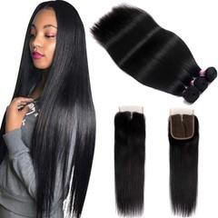 BHF Peruvian Straight Human Hair Bundles with Closure Unprocessed Virgin Hair 3 Bundles with Closure free Part 8*3+8