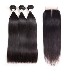 Brazilian Straight Human Hair 3 Bundles With Closure 9A Virgin Straight Hair With Lace Closure middle part 8*3+8