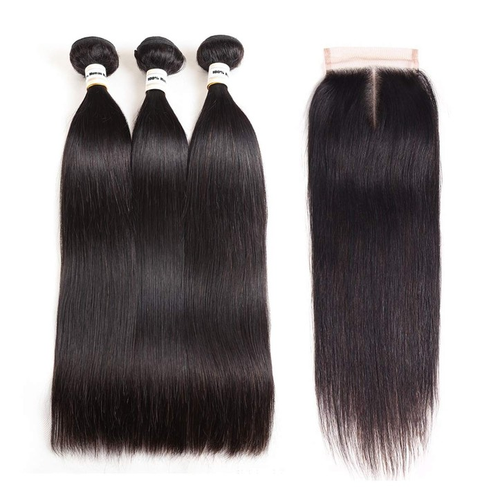 Brazilian Straight Human Hair 3 Bundles With Closure 9A Virgin Straight Hair With Lace Closure middle part 8*3+8