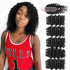 BHF Malaysian Virgin Hair Deep Wave 5 Bundles With Closure 50G 8A Grade With Lace Closure natural black 8*5+8