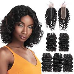 BHF Indian Virgin Hair Deep Wave 5 Bundles With Lace Closure With 50G 8A Grade Closure natural black 8*5+8