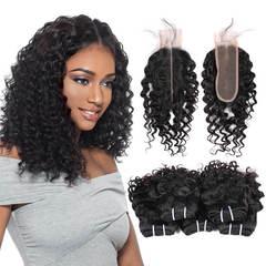 BHF Brazilian Virgin Hair Deep Wave 5 Bundles With Closure 50G 8A Grade With Lace Closure natural black 8*5+8