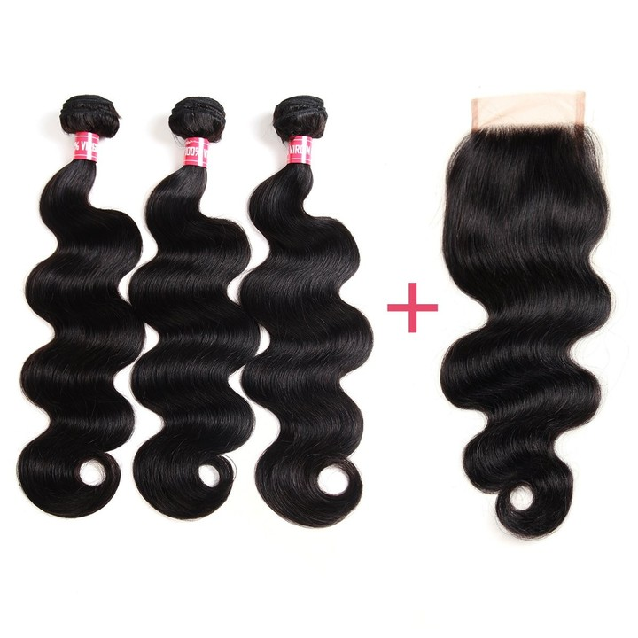 Brazilian Body Wave Virgin Hair 3 Bundles with Closure Unprocessed Body Wave with Lace Closure free Part 8*3+8