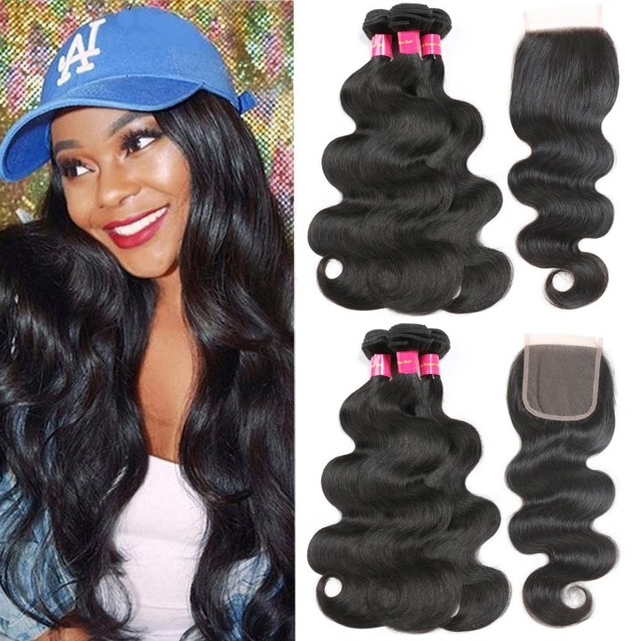 Brazilian Body Wave Human Hair 3 Bundles with Closure Unprocessed Virgin Hair Body Wave with Closure free Part 8*3+8