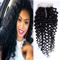 BHF Human Hair 4x4 Lace Closure Brazilian Kinky Curly Human Hair with Baby Hair Natural Black Natural Black 8