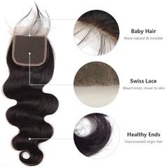 Malaysian Body Wave 4X4 Lace Closure 100% Unprocessed Virgin Human Hair Closure Nature Color Natural Black 10