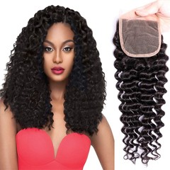 BHF Hair 4x4 Brazilian Deep Wave Lace Closure Human Hair Pre Plucked Lace Closure Natural Color Natural Black 8