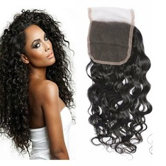 BHF Real Human Hair Indian Water Wave 4x4 Lace Closure With Baby Hair Water Wave Natural Color Natural Black 8