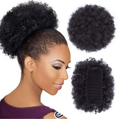 Afro Puff Drawstring Ponytail Synthetic Short Afro Kinky Curly Ponytail Hair Extensions with Clips Natural Black