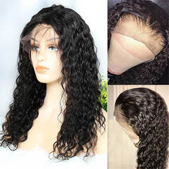 BHF Water Wave 13x4 Ear to Ear Lace Frontal Wigs Human Hair Wigs Glueless Lace Front Human Hair Wigs natural black 12