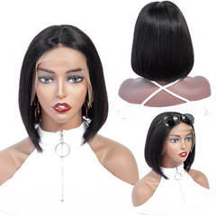 BHF Straight 13*4 Ear To Ear Lace Frontal 100% Human Hair Bobo Wigs Virgin Human Hair 150% Density Medium Brown 6Inch
