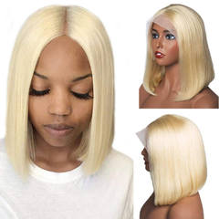 BHF Hair Straight 13*4 Ear To Ear 613 Blonde 100% Human Hair Lace Frontal Bobo Wigs 150% Density  613 Blonde 6inch