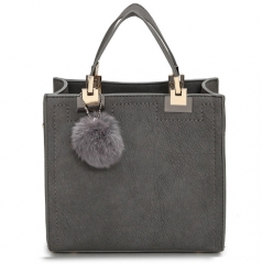 Hot sale handbag women casual tote bag female high quality PU leather handbag with fur ball bolsa Grey one size