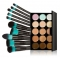 15 Colors Contour Face Cream Concealer Palette + 10Pcs Eye Lip Make Up Brushes Cosmetic Tools As picture