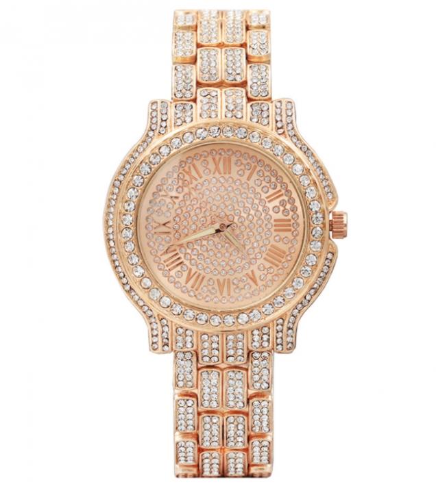 New Concentric Round Roman Scale Diamond Faced Steel Watch Ladies Fashion Quartz Watch Rose