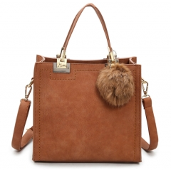 Hot sale handbag women casual tote bag female high quality PU leather handbag with fur ball bolsa Brown one size
