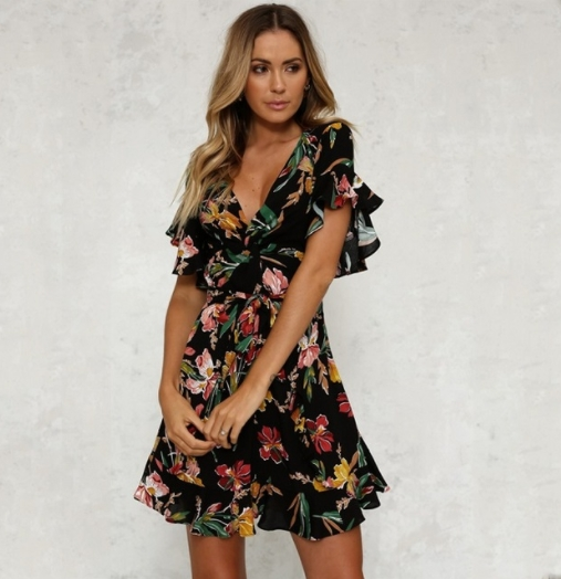 Summer Beach Dress Women Sexy Casual Folwer Print Chiffon V-Neck Robe Boho  Sexy Ladies Party Dress S As picture  Product No  2053874. Item specifics   Brand  7d3760ee649a