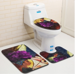 3pcs/set Anti Slip Water Absorb Floor Rug Carpet Bath Mat Polyester Toilet Mat Home Decor 1style 45*75+45*37.5+35*45