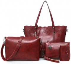 4 Pcs/Set Women Bag Hollow Out Women Leather Handbags Oil Wax Large Capacity Casual Tote Bag wine red one size