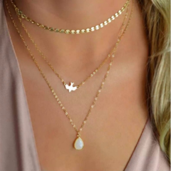 New Peace Pigeon Water Drop Opal Pendant Necklace Multi-Layer Chain Choker Jewelry golden one size