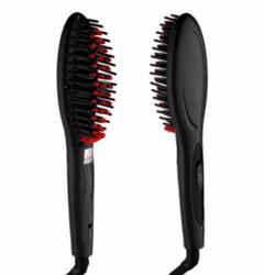 Ceramic Electric Hair Straightener Comb Styling Tool Hair Straightening Brush Girls Ladies Hair Care black as picture