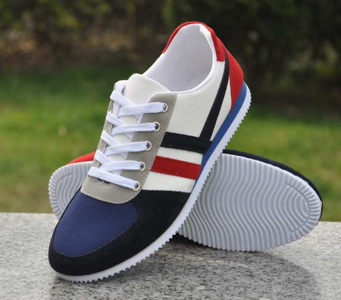 Fashion Canvas Lace-up Men Shoes Plimsolls Breathable Male Sneakers For Men Casual Shoes Blue 43