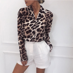 Chiffon Long Sleeve Sexy Leopard Print Blouse Collar Lady Office Shirt Tunic Loose Tops pink S