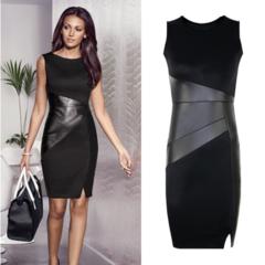 Women Faux Leather Splice OL Black Pencil Dress O Neck Sleeveless Elegant Slim Bodycon Dress S As picture