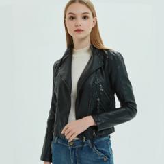 Women Slim Cool Lady PU Leather Jackets Sweet Female Zipper Faux Femme Outwear Coat Black S