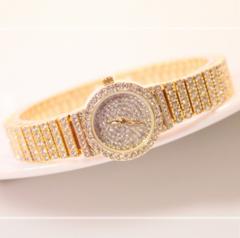 Elegant Women Small Dial Watches Female Full Rhinestone Crystal Watches Diamond Quartz Wrist watch Golden one size
