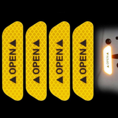 4Pcs/Set Car OPEN Reflective Tape Warning Mark Reflective Open Notice Exterior Car Door Stickers DIY Yellow 2.5cm*9.3cm