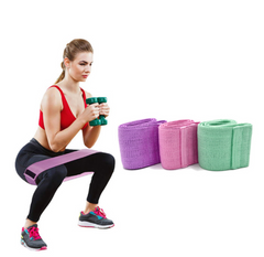 3Pcs / Pack Heavy Booty Training Band Non-Slip Cloth Hip Band Resistance Bands Loop Cloth Green + pink + purple Three bags + net bag + manual