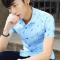 New men's shirt summer white printed feather student men's youth casual handsome short-sleeved shirt blue l