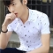 New men's shirt summer white printed feather student men's youth casual handsome short-sleeved shirt black m