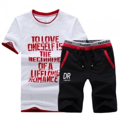Sports suits spring of male model the gym running sports wear t-shirts with short sleeves red m Sport suit