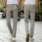 Summer thin men's casual pants men's cotton pants male elastic pants large size long straight pants gray 34
